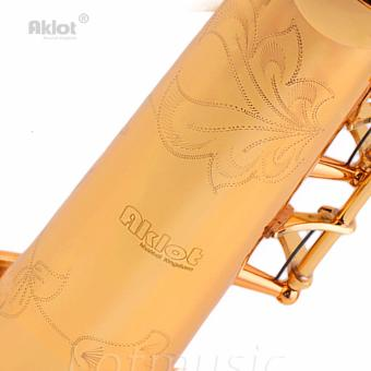 Aklot Bb Soprano Saxophone Sax Gold Lacquered Brass Body with Tunerand Reeds - intl - 3