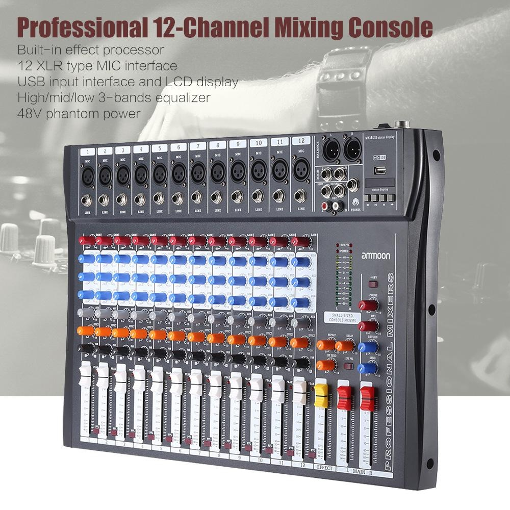 Philippines Ammoon 120s Usb 12 Channels Mic Line Audio Mixer 3 Channel Mixing Console Xlr Input