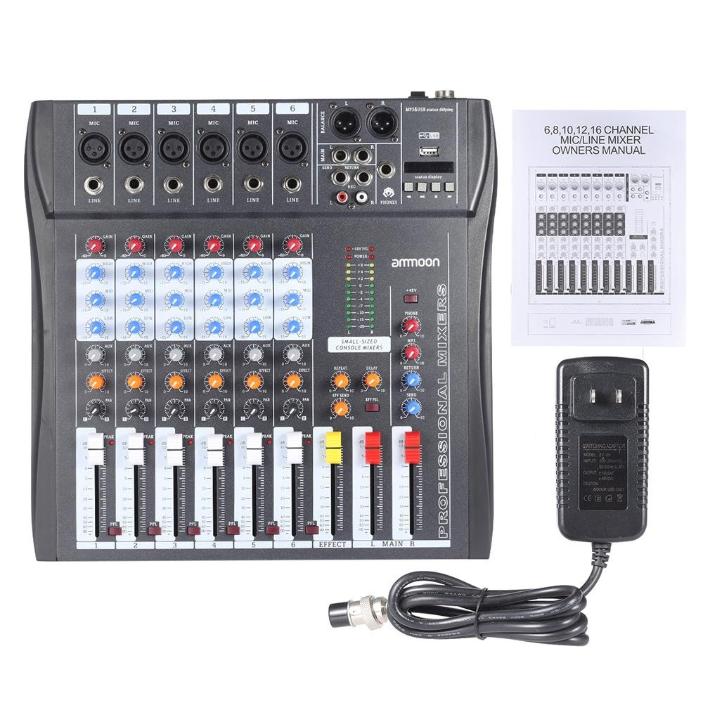 Philippines Ammoon 60s Usb 6 Channels Mic Audio Mixer Mixing Channel Console 3 Band Equsb Xlr