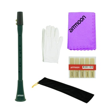 ammoon Pocket Mini F Key Clarinet Clarionet ABS with Reeds CarryingBag Gloves Cleaning Cloth Deep Green - intl