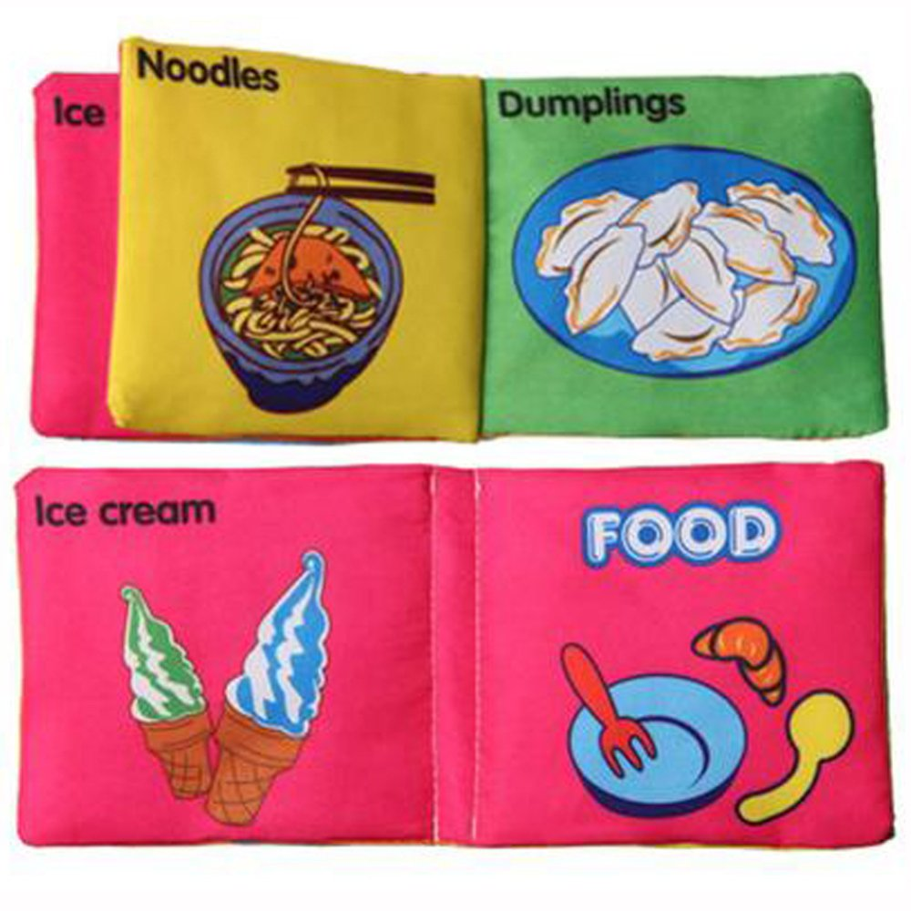 Baby Soft Squeaky Cloth Book Food