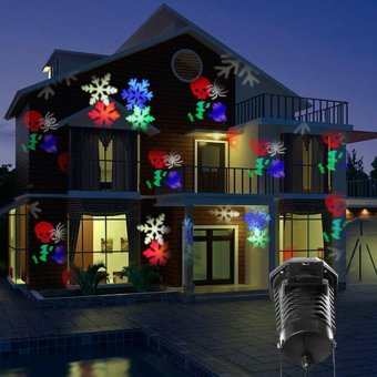 Christmas Halloween Laser Projector LED Stage light Waterproof 10Replaceable Patterns Holiday Party Landscape Decoration lights -intl