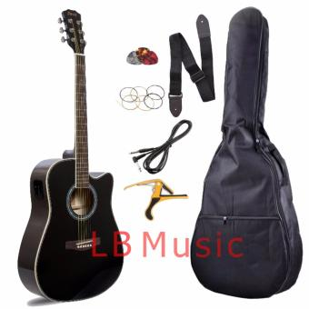 Davis Sr. Size with pickup acoustic guitar Complete Package (Black)