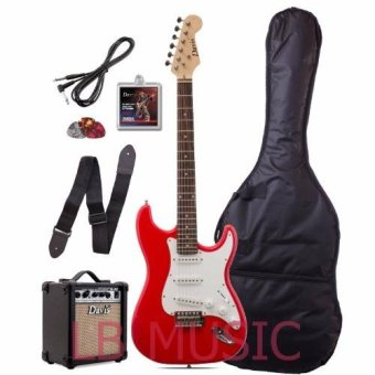 Davis Stratocaster with Portable Amplifier electric guitar Package(Red)
