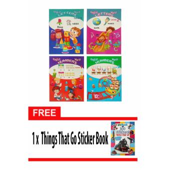 English World Letters Levels 1 & 2 and Numbers Levels 1 & 2Educational Children's Activity Book with Free Things that goSticker Book