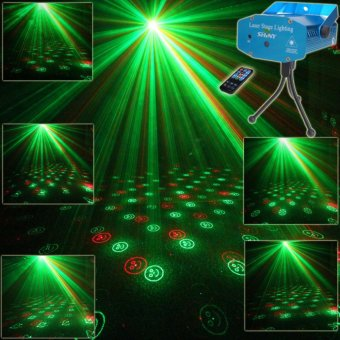 ESHINY R7 Mini R&G Remote Moving 6 Patterns Laser Projector Club Bar Coffee Shop Dance Disco Holiday Home Party Xmas DJ Stage lighting Effect Light Show + Tripod - intl