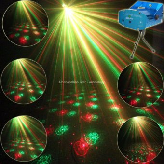 ESHINY Y6 Mini Red Green sound Automatic Moving Laser 6 Christmas Patterns projector Club Bar lighting lights Dance Disco home party Xmas DJ Stage Light show + Tripod - intl