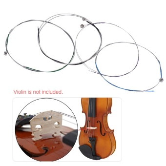 Full Set Violin Fiddle String Replacement for 3/4 & 4/4 Violin 4pcs G D A & E Medium Tension Alloy - intl - 3