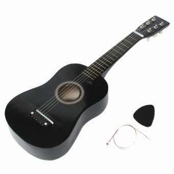 HOT New Beginners Black Basswood Acoustic Guitar With Guitar Pick Wire Strings