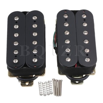 Humbucker Pickup Set with Silver Magnetic Column Set of 2 Black -intl
