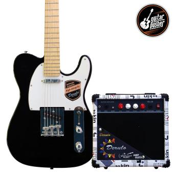 Derulo Electric Guitar TELE Starter Pack with Amplifier and Freebies - Black Price Philippines