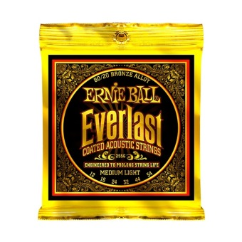 Harga Ernie Ball 2556 Everlast 80/20 Bronze Medium Light Acoustic Guitar Strings