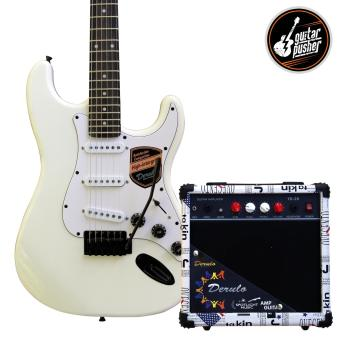 Derulo Electric Guitar Stratocaster Starter Pack with Amplifier and Freebies - WHITE Price Philippines