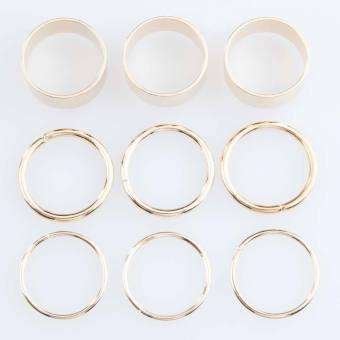 Harga Gold Stack Plain Band Midi Above Knuckle Ring Set