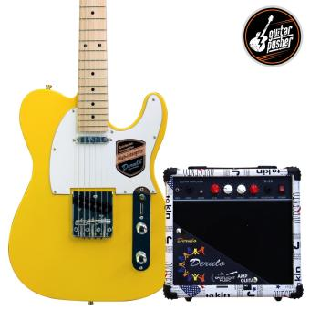 Derulo Electric Guitar TELE Starter Pack with Amplifier and Freebies - YELLOW Price Philippines
