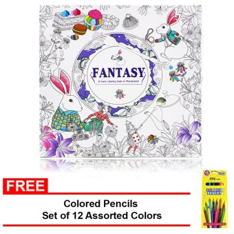 Inspire Zen Fantasy Stress Coloring Book Violet With FREE Colored Pencils