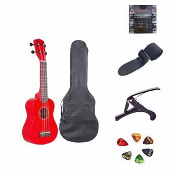 Jasmine Concert Packaged Colored Ukulele (Red)