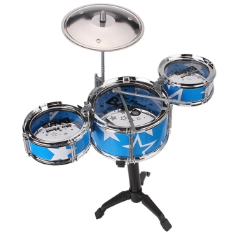 Jazz Drum Playset Percussion Musical Instrument IntelligenceEducational Toy for Boy Girl Kids Baby Children Gift Blue