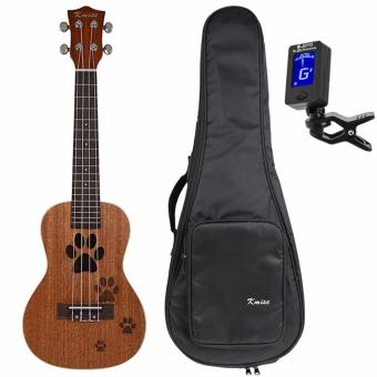 Kmise 23 Inch Concert Ukulele Uke Hawaii Guitar Mahogany 18 FretCarved Dog's Footprints W/Bag and JOYO Tuner - intl