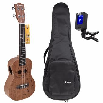 Kmise Concert Ukulele 23 inch Hawaii Guitar Mahogany Carved Cat W/Bag and JOYO Tuner - intl
