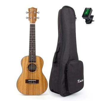 Kmise Professional Concert Ukulele Kit Ukelele Uke Acoustic Hawaii Guitar Zebrawood 23 inch 18 Fret with Bag Tuner