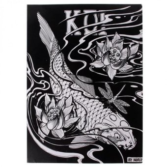 KOI Fish Series Design Manuscript Tattoo Art Needle Sketch BookSupplies 51 Page - intl