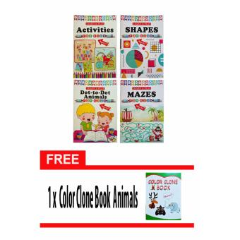 Learn and Play for Kids 4-pc Educational Activity Books for Children 3-7 years old with Free Color Clone Book Animals