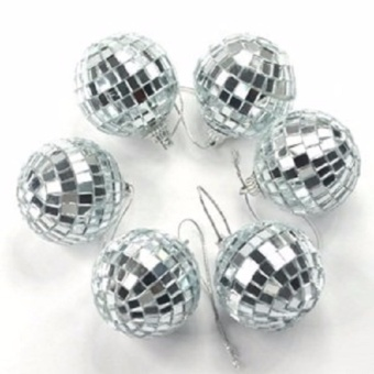 Lightning Power-6 pcs 4.5 cm Disco Ball Mirror Party Christmas XmasTree Ornament Decoration(Silver) - intl