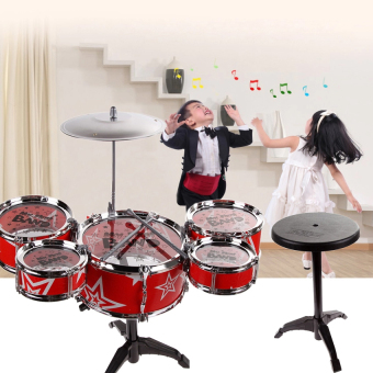 Lucky man Jazz Drum+Chair Kids Early Education Toy PercussionInstrument Gift red