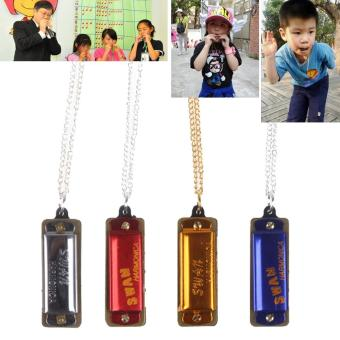 Mini 4 Hole 8 Tone Necklace Harmonica for Children's Gift - intl