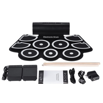 Portable Electronic Roll Up Drum Pad Set 9 Silicon Pads Built-in Speakers with Drumsticks Foot Pedals USB 3.5mm Audio Cable ^ - intl