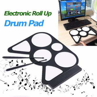 Professional Roll up Drum Pad Kit Silicon Foldable with StickPortable Drum Electronic Drum USB Drum