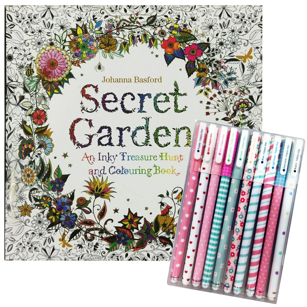 Secret Garden Adult Coloring Book With Pens