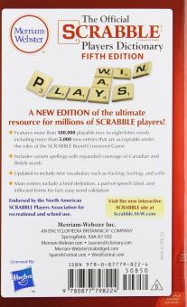 The Official Scrabble Players Dictionary New 5Th Edition MassMarket Paperback 2014 Copyright