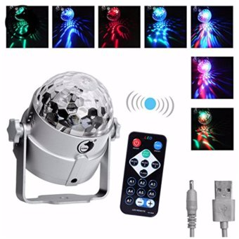 U`King Mini Disoc Rotating Magic Crystal Ball Llight LED RGB Stage Lighting Stage Disco DJ Club Voice Activated Lights (with 1 Remote Control) Silver - intl
