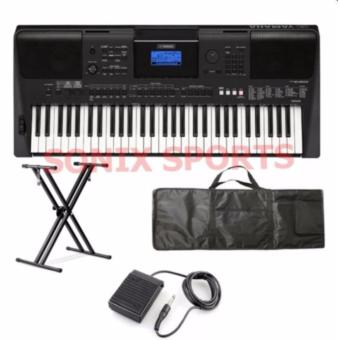 Yamaha PSRE453 61-Key Portable Keyboard with Double X keyboardStand and Sustain Pedal and Keyboard Bag