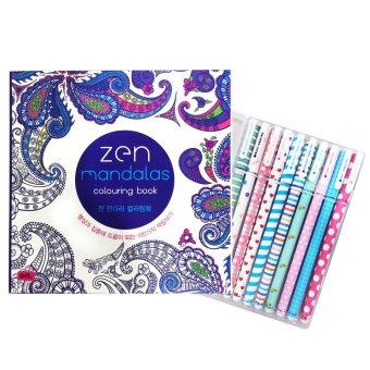 ZEN Mandalas Anti Stress Adult Coloring Book With Pens Set