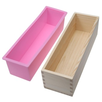 1200g Silicone Soap Loaf Mold Wooden Box DIY Making Tools - intl - 2