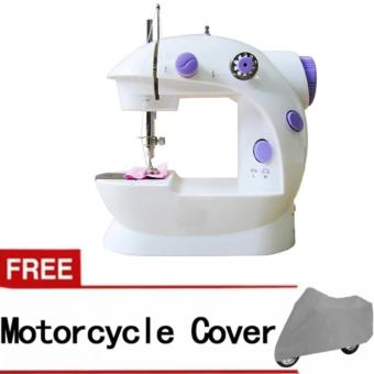 2-Speed Mini Electric Sewing Machine Kit (White/Lavender) with FreeMotorcycle Cover