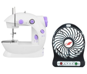 2-Speed Mini Electric Sewing Machine Kit (White/Lavender) with MiniUSB Rechargeable Portable Cooling Table Fan