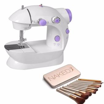 2-Speed Mini Electric Sewing Machine Kit (White/Lavender) WITH Naked 12 pcs Professional 3 Power Makeup Brushes