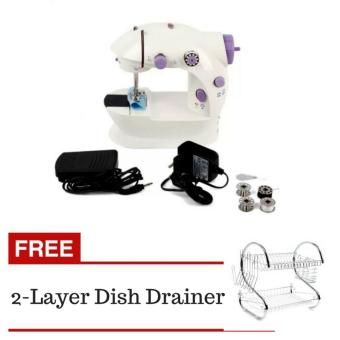 2-Speed Mini Electric Sewing Machine Kit (White/Lavender) With2-Layer Dish Drainer (Silver)