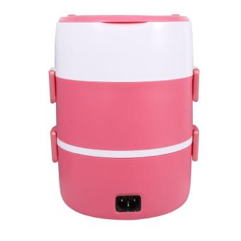 220V 3 Layers Electric Heated Lunch Box (Pink) - intl - 3