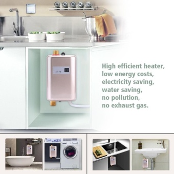 220V 3400W Mini Instant Hot Water Heater Bathroom Kitchen Electric Tankless Machine- Golden - intl - 3