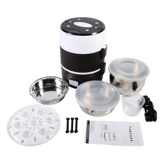 3 Tier Electric Heated Heating Lunch Box Set Food Warmer Container Bento Portable 220V - intl
