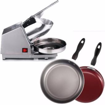 300W Ice Smashing Electric Crusher Machine (Silver)With Fry Pan26cm Non-Stick with Handle (Red)