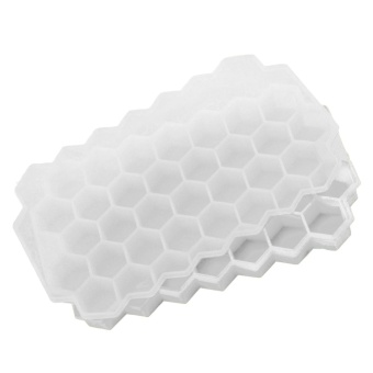 37 Slots Silicone Honeycomb Shape Ice Cube Maker Mold Tray Ice Box with Lid for Whisky Cocktails Iced Coffee Cold Drinks White - intl