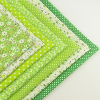 7pcs/set 50cmx50cm Green Cotton Fabric Fat Quarter Bundle Floral Craft Tilda Fabric for Sewing Telas - intl - 3