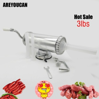 AREYOUCAN AY6692 3 lbs Hand Operated Sausage Meat Stuffer WithSuction Base Homemade Sausage Filling Machine Aluminum ManualSausage Maker - intl