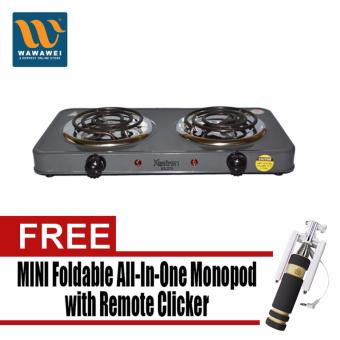 Astron ES-273 Double Electric Stove (Gray) with Free Mini FoldableAll-In-One Monopod with Remote Clicker (Black)
